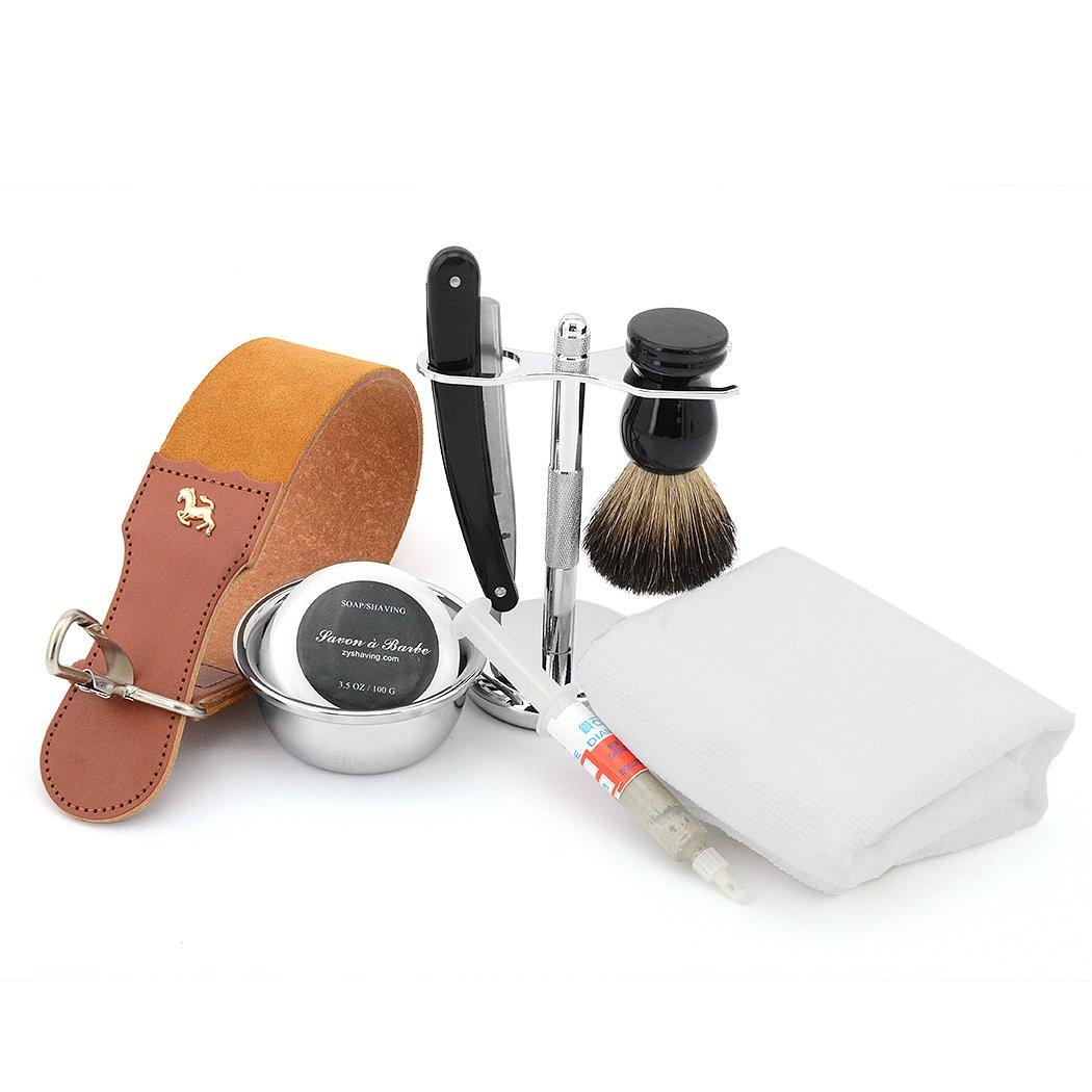Mens Shaving 8IN1 Set Fine Straight Razor+Stand+Badger Brush+Bowl+Leather Strop