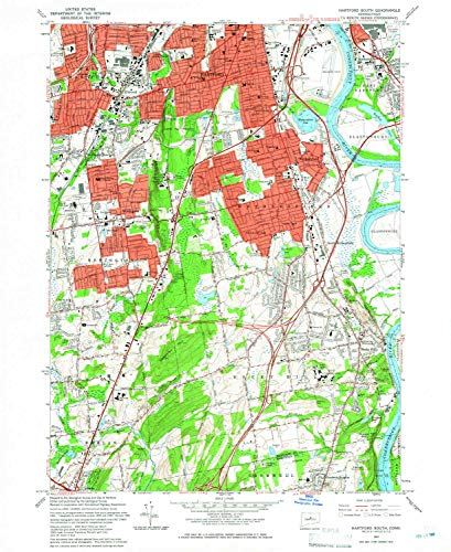 YellowMaps Hartford South CT topo map, 1:24000 Scale, 7.5 X 7.5 Minute, Historical, 1964, Updated 1966, 26.9 x 22 in - Polypropylene