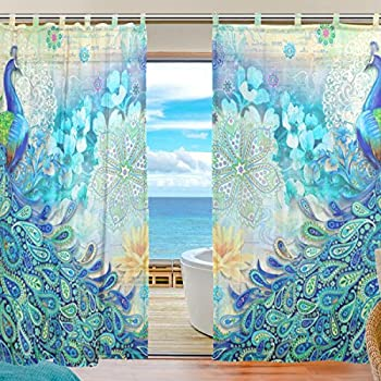 INGBAGS Bedroom Decor Living Room Decorations Peacock Pattern Print Tulle  Polyester Door Window Gauze / Sheer Curtain Drape Two Panels Set 55x78 Inch  ,Set ...