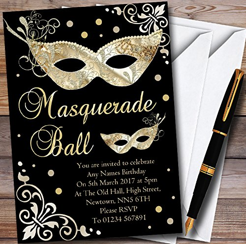 Gold & Black Masquerade Ball Personalized Party Invitations