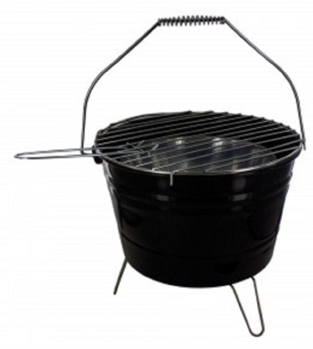 KnGLuv BBQ Bucket Compact Barbecue Charcoal Grill - Metal Outdoor Patio Deck Camp Grilling