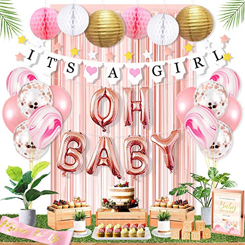 Ola Memoirs Premium Baby Shower Decorations for Girl Party Kit- It's A Girl Banner, Baby Pink Fringe Backdrop, Rose Gold OH BABY Foil Balloons, Pink and White Honeycomb Balls, Lanterns, Latex Balloons]()