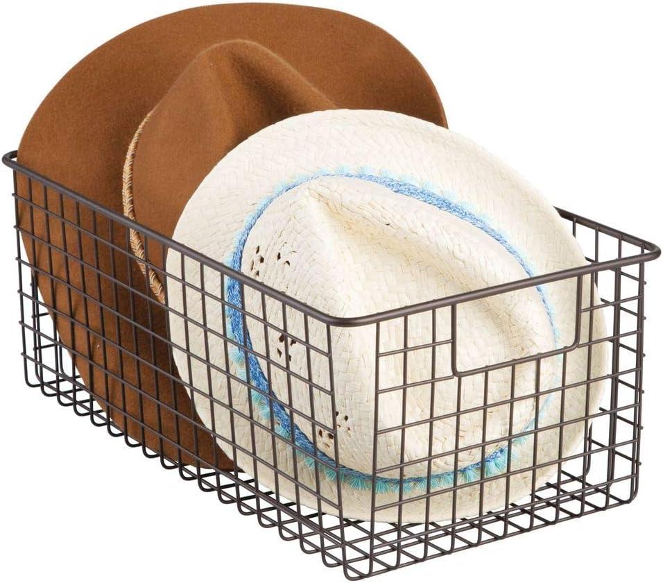 mDesign cesta metalica para los productos de limpieza de sus zapatos - Cesta organizadora provista de asas para un cómodo transporte - Color bronce