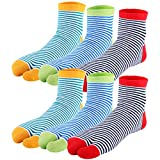kilofly 6 Pairs Unisex Striped Flip Flop Split 2-Toe Tabi Socks Value Pack