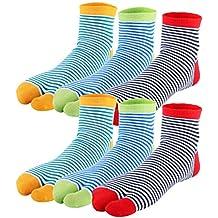 kilofly 6 Pairs Unisex Striped Flip Flop Split 2-Toe Tabi Socks Value Pack