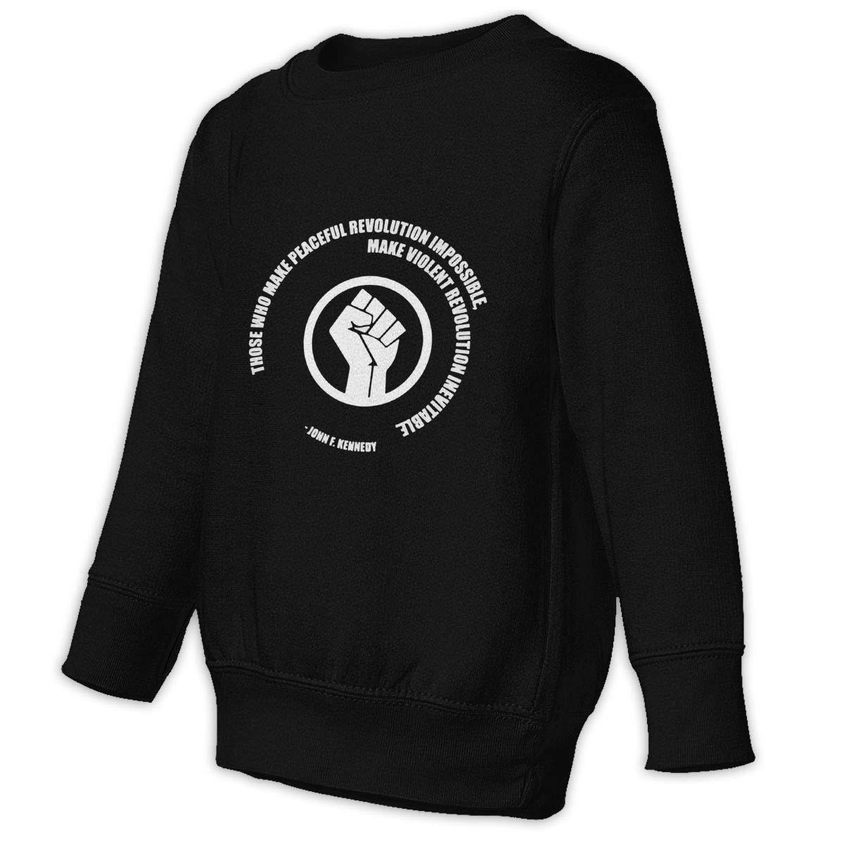 Childrens Peaceful Revolution Winter Tops Outwear Pullover Sweatshirt Black by WKNG8JK