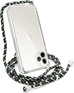 """YESPURE Crossbody Case for iPhone 11 Pro 5.8"""",Apple iPhone 11 Pro Phone Case, Clear TPU Soft iPhone 11 Pro Case Holder with Neck Cord Lanyard Strap-Clear - Green Beige Black"""