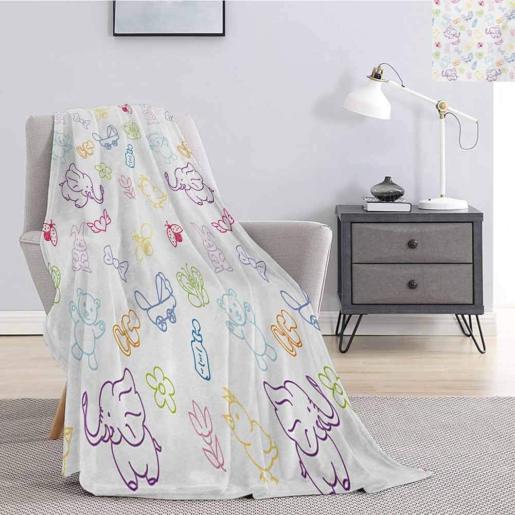 Luoiaax Nursery Bedding Flannel Blanket Cartoon Drawing Style Baby Elephants Teddy Bears Flowers Butterflies Bees Pattern Super Soft and Comfortable Luxury Bed Blanket W70 x L84 Inch Multicolor