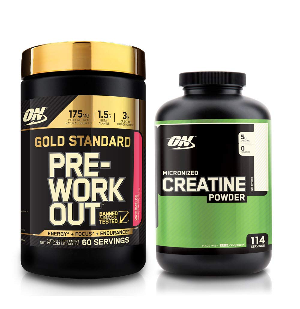Optimum Nutrition Gold Standard Pre-Workout with Creatine, Beta-Alanine, and Caffeine for Energy, Flavor: Watermelon, 60 Servings + ON Micronized Creatine Powder 114 Serve Combo Pack - Best Value