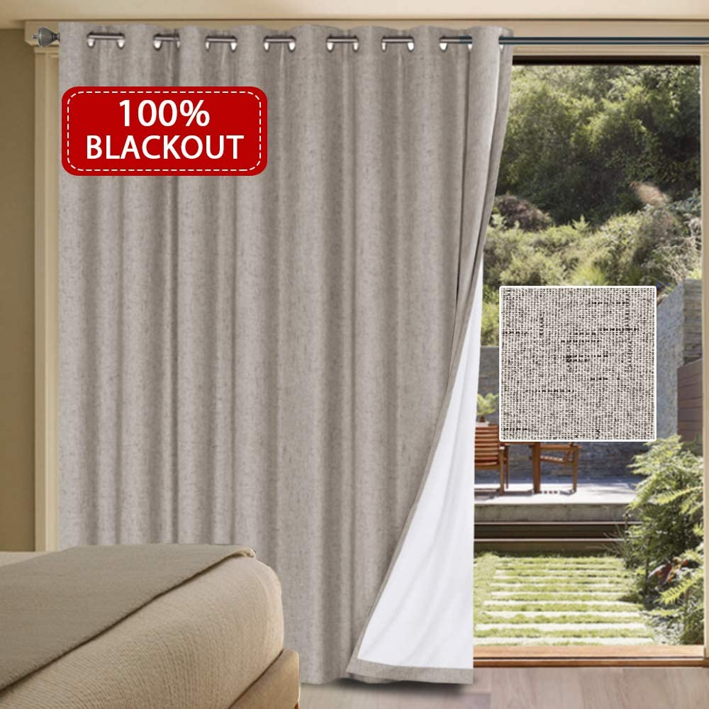 "Primitive Linen Look 100% Blackout Patio Door Linen Curtains for Sliding Door Extra Long with Thermal Insulated Liner Room Darkening Curtains for Glass Door with Grommet (Taupe, 100"" x 84"")"