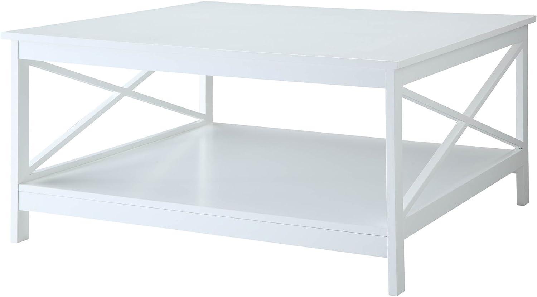 "Convenience Concepts Oxford 36"" Square Coffee Table, White"