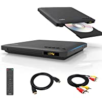 Slim Design DVD player for TV,HDMI/RCA Output,Ultra-Thin Region Free CD/DVD Player,Full HD with HDMI/AV Cables Provided…