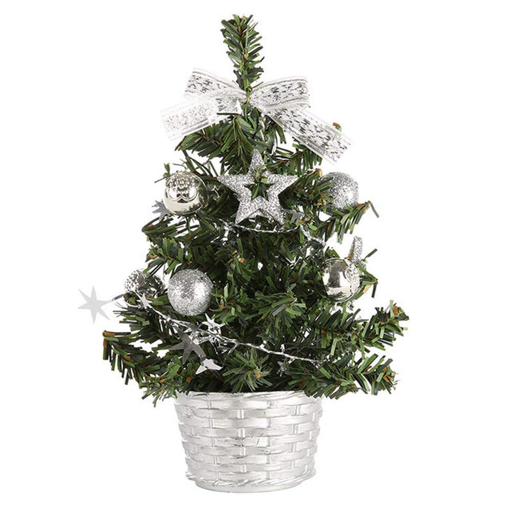 Oldeagle Christmas Miniature Tree, 20cm Artificial Tabletop Mini Christmas Miniature Tree for Christmas Festival Decorations (Silver)