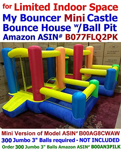 BALLS INCLUDED - Best for Limited Space, My Bouncer Little Mini Castle 80