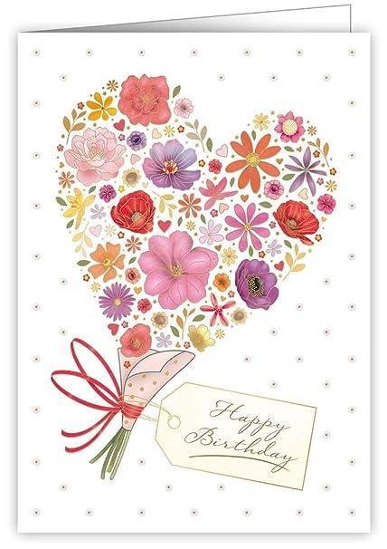 Tarjeta de felicitación de cumpleaños - ramo de flores ...