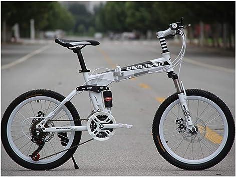 20 * 15 Pulgadas Bicicleta de montaña Plegable Doble Amortiguador Bicicleta 21 Velocidad Frenos de Disco Land Rover Speed Car,White: Amazon.es: Deportes y aire libre