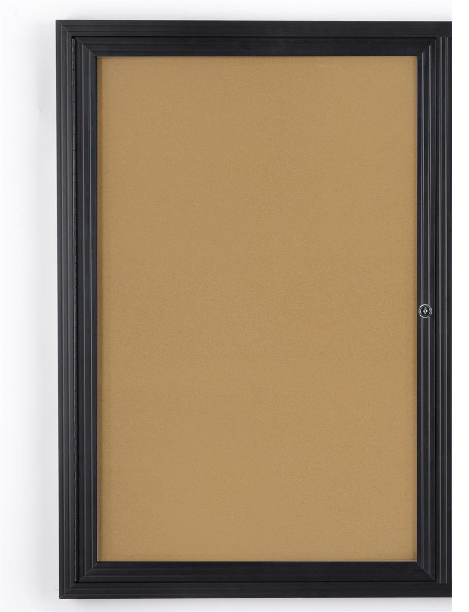 Displays2go 24'' x 36'' Enclosed Cork Board with Locking Door - Black (LCRK2436BF) by Displays2go