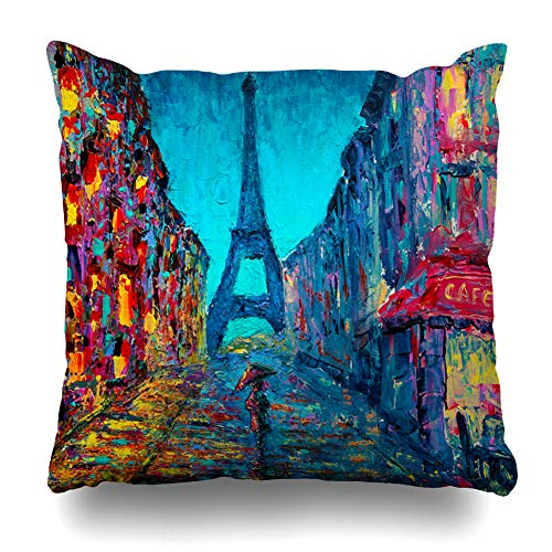 Ahawoso Throw Pillow Cover Fine Oil Paris Street Painting Original Color Sketch Abstract City Canvas Impressionism Decorative Pillowcase Square Size 20