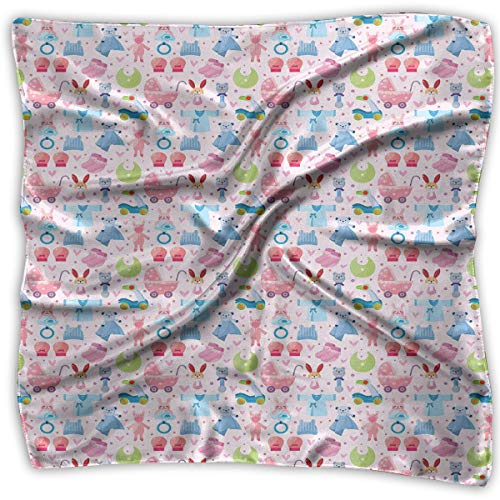 Bandana Head and Neck Tie Neckerchief,Cute Toys Childish Teddy Bear Rabbit Bunny Birthday Girls Cheerful -