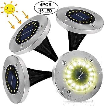 Luces Solares Jardin, Afaneep 4 Pcs 16 LED Luces Solares de Tierra Luz IP65 Impermeable Lámpara Para Exterior, Patio, Camino, Jardín, Borde Piscina Blanco Cálido: Amazon.es: Iluminación