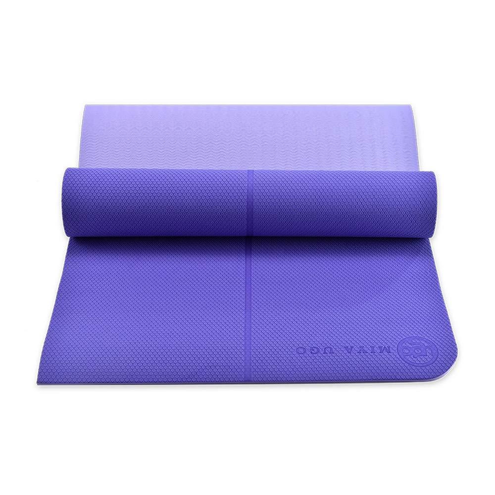 AOOMAT Yoga-Matte TPE zweifarbig 8mm verlängert 1800mm Fitnessmatte Anfänger Fitnessmatte Körperführungssystem Yogamatte