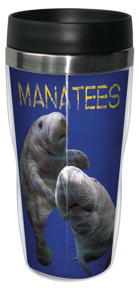 Manatees Travel Mug, Stainless Lined Coffee Tumbler, 16-Ounce - Gift for Animal Lovers - Tree-Free Greetings 25943