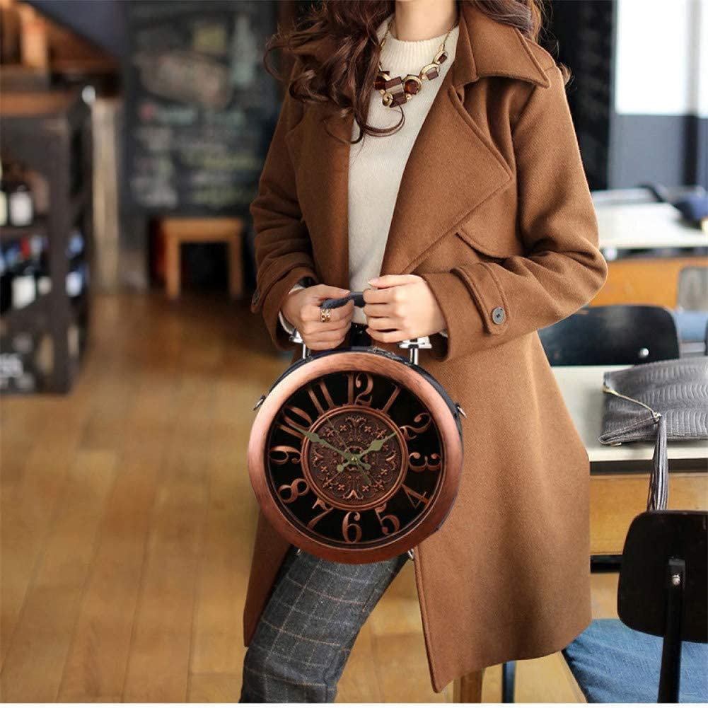 Wecker Handtasche Echt Working Women Fashion Diagonal Schultertasche Leder Vintage Clock Round Box Personalisierte Steampunk-Stil Messenger Bag (A) A