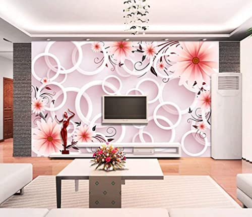 Amazon Com Muraviewall 3d Circle Luxury Gorgeous Pearl Flower Wallpaper Soft Package Stereo Tv Background Hotel Living Room Tv Sofa Mural Children Bedroom Peel And Stick I Custom Size Handmade