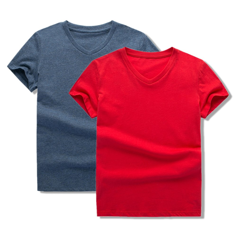 UNACOO 2 Packs 100% Cotton Short-Sleeve V-Neck T-Shirt for Boys and Girls(red+Hemp Blue, m(7-8T))
