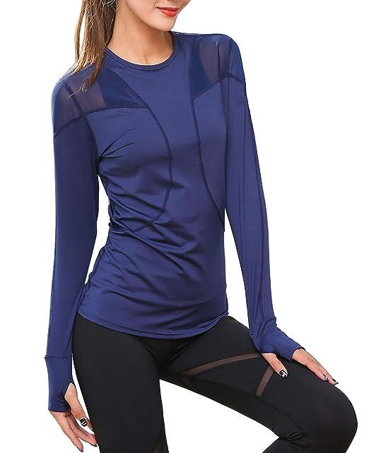 c35b68f1ecfad UDIY Women s Athletic Running Yoga Fast Dry Fit T-Shirts Sports Mesh Sexy Long  Sleeve