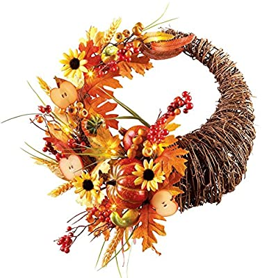 Autumn Harvest Cornucopia Wreath