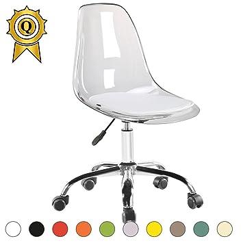 Mobistyl 1 X Chaise De Bureau Hauteur Réglable Roulettes Chrome