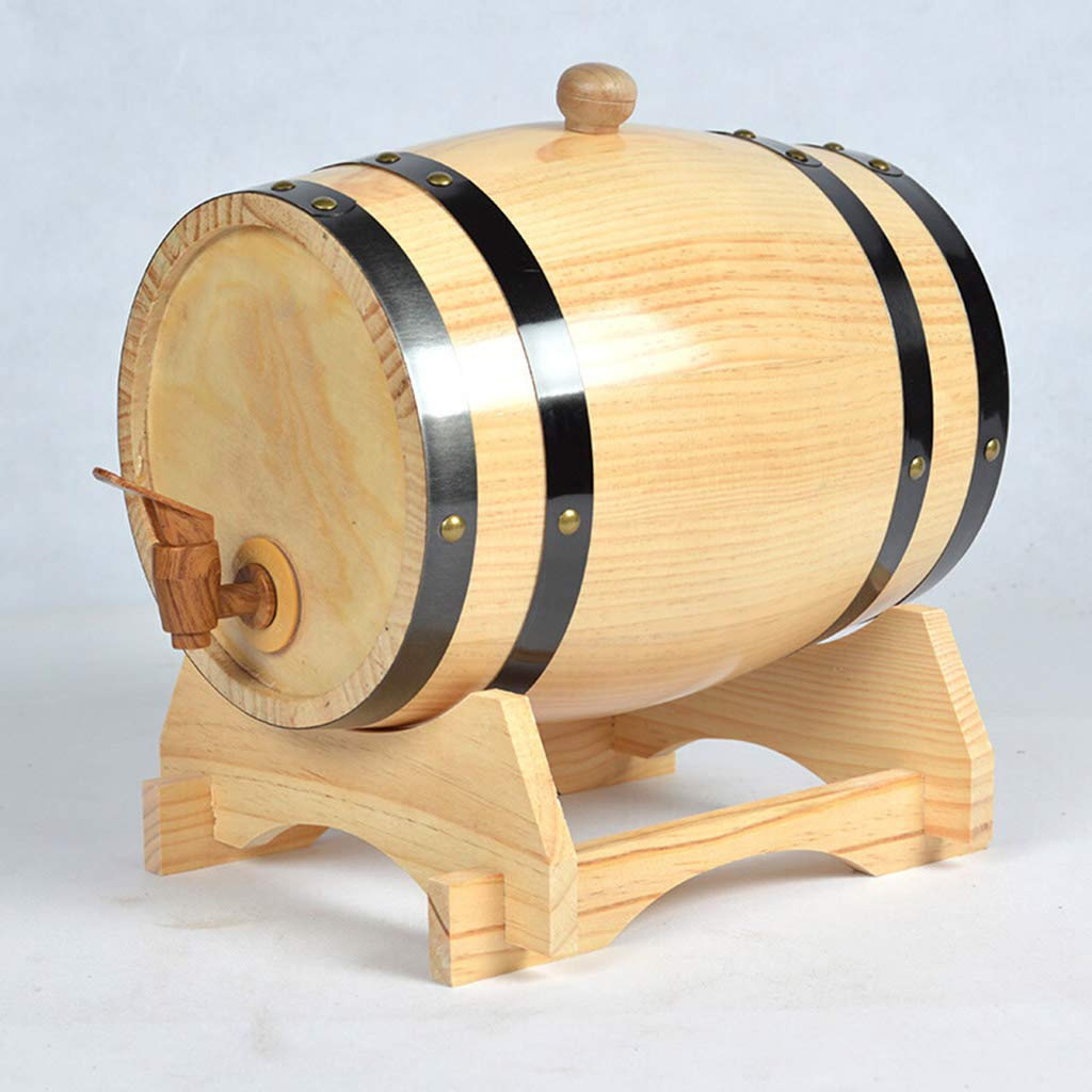 Yilian Jiutong Oak Barrel Wine Barrel White Wine Barrels Wine Barrel Decoration Wooden Solid Wood Barrels Household Wine Wine Barrel Oak Barrel Wine (Color : Wood Color)