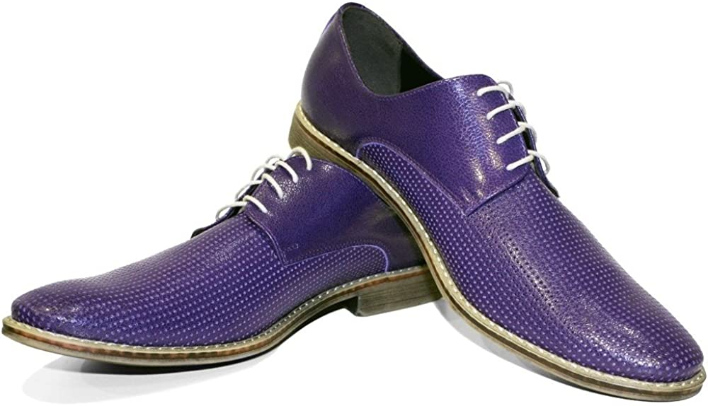 Modello Brindisi Lace-Up Handmade Italian Mens Color Purple Oxfords Dress Shoes Cowhide Embossed Leather