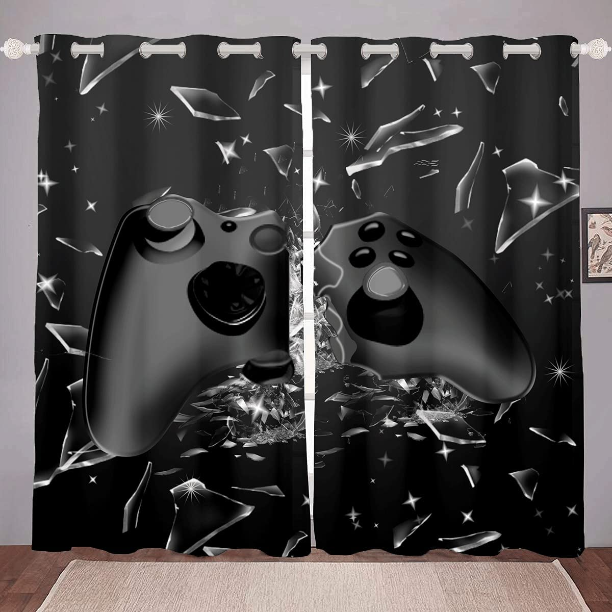 Gamer Curtains Boys Gaming Decor Window Curtains for Bedroom Cool Games Gamepad Window Drapes Game Room Decor - Thermal Insulated Room Curtains for Living Room, 2 Window Curtain Panels