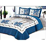 Stumix Luxury Azure Blue, Rose and water wave pattern. Reversible quilt set 3PC Set, Super Soft Bed Quilt Bedspread Bed Cover. (Queen)