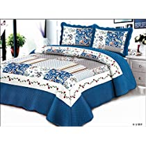 Stumix Luxury Azure Blue, Rose and water wave pattern. Reversible quilt set 3PC Set, Super Soft Bed Quilt Bedspread Bed Cover.