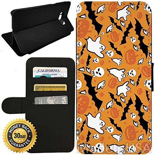 Flip Wallet Case for Galaxy S8 Plus (Spooky Halloween Pattern) with Adjustable Stand and 3 Card Holders | Shock Protection | Lightweight | by (Halloween Cards Etsy)