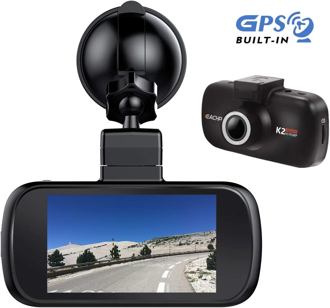 Car Dash Cam GPS, EACHPAI K2 3 IPS Touch Screen Dash Camera Front for Cars 1080P Dashboard Camera 150 Wide Angle Super Capacitor WDR G-Sensor Loop Recording