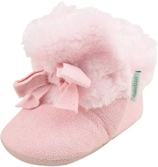 Pink, 9-12 Months 14 Super Cute Baby Girls Boys Fleece Pram Shoes Warm Winter Booties