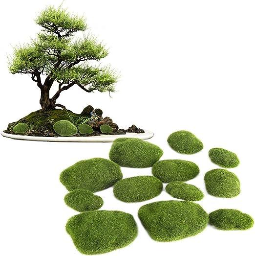Dewin Hierba Verde Musgo Piedra - Artificial Verde Musgo Piedras, Simulación Hierba Bryophyte Bonsai, Jardín DIY Paisaje de la decoración, 12pcs: Amazon.es: Hogar