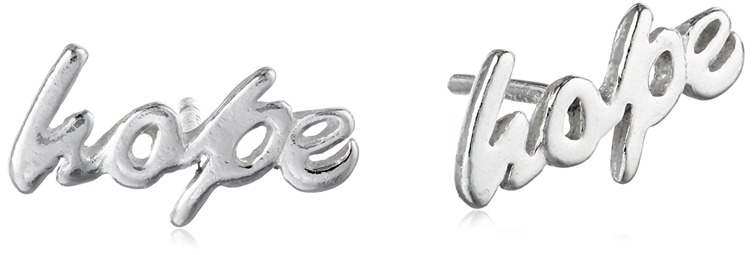 Sterling Silver 'Hope' Button Earrings Amazon Collection 23816001