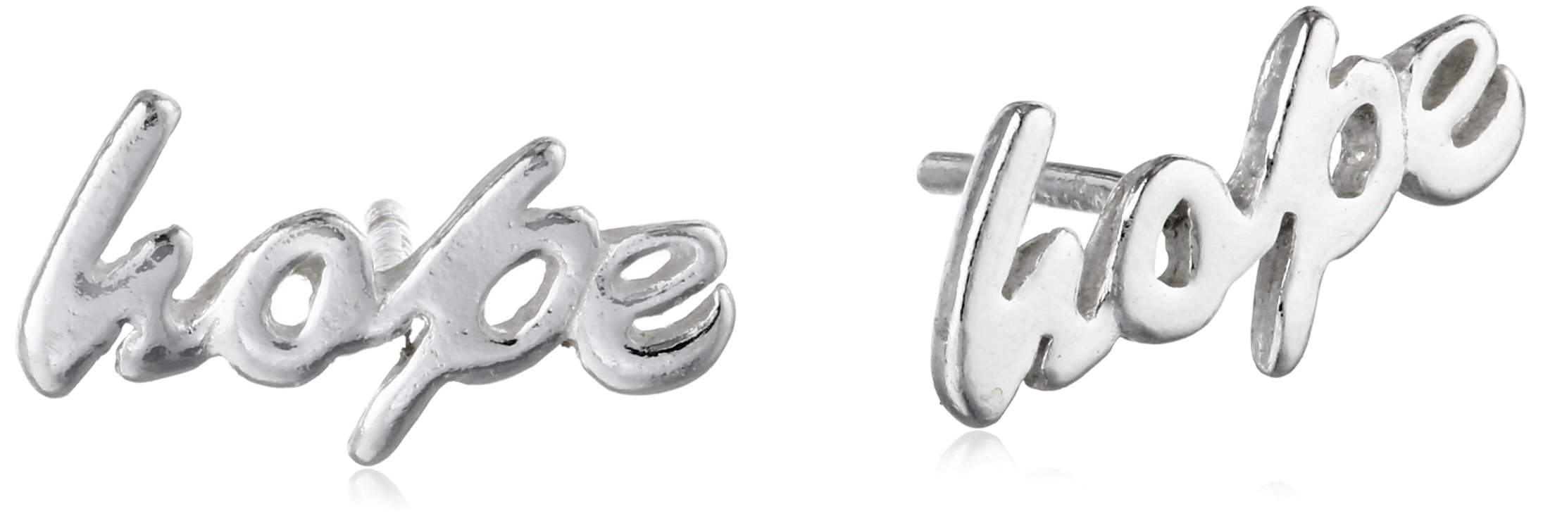 Sterling Silver 'Hope' Button Earrings