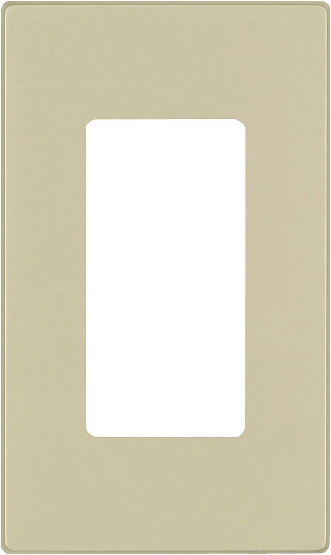 Leviton 80301-SI 1-Gang Decora Plus Wallplate Screwless Snap-On Mount, Ivory