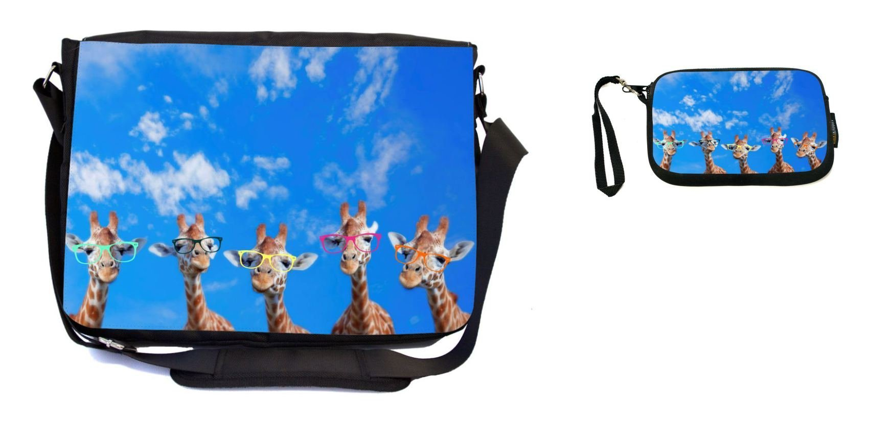 Rikki Knight Hipster Giraffes with Colorful Glasses Design Messenger Bag - School Bag - Laptop Bag - with Padded Insert - Includes UKBK Premium Coin Purse