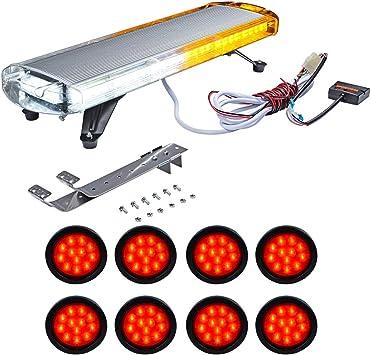 "50/"" Inch LED Emergency Beacon Warn Strobe Rooftop Tow//Plow Truck Amber Light Bar"