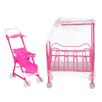 Homyl Mini Plastic Nursery Baby Crib Carriage For Barbie Doll