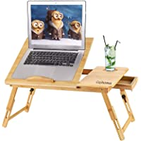 Cozihoma Laptop Desk Bamboo for Bed and Sofa, Portable Adjustable Laptop Desk Table Stand Up/Siting Foldable Breakfast…