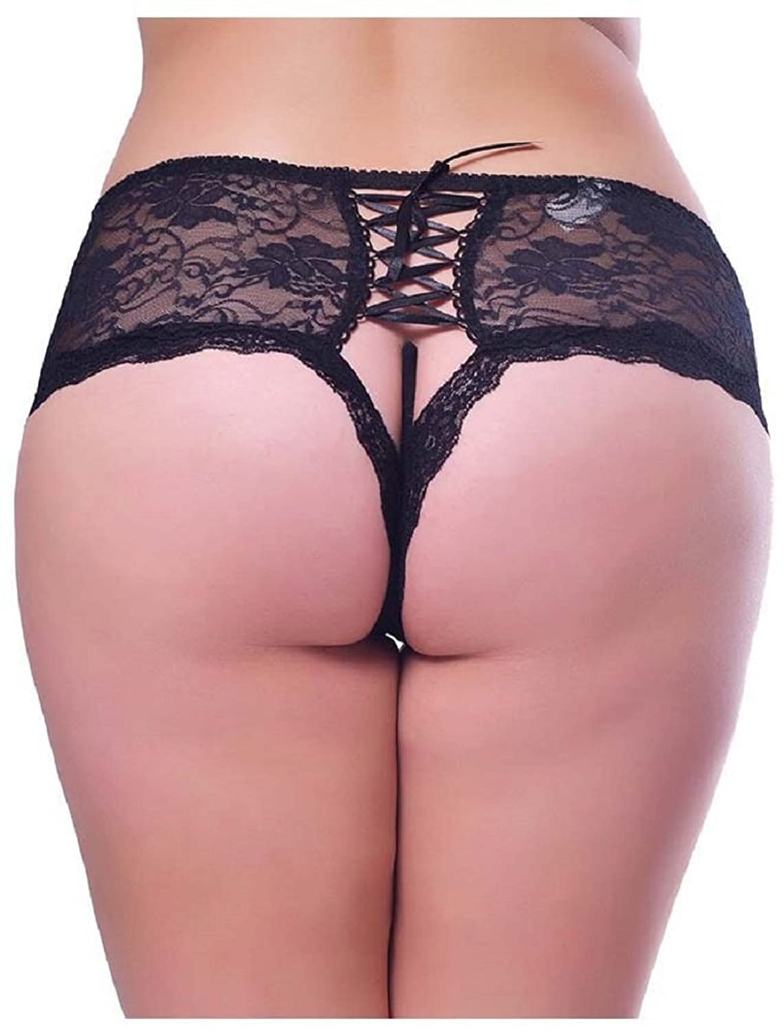 Black Panties Lace Boyleg Open Crotch Plus Briefs Undies Underwear
