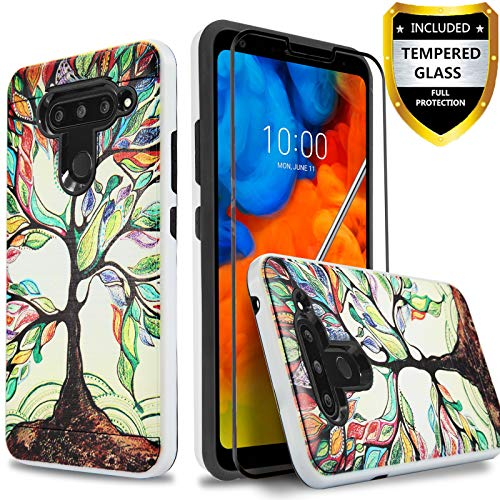 LG V40 ThinQ Case, LG V40 Case, With [Full Cover Tempered Glass Screen Protector] Circlemalls 2-Piece Style Drop Protection Shockproof Rugged Protective Phone Cover And Stylus Pen-Lucky Tree